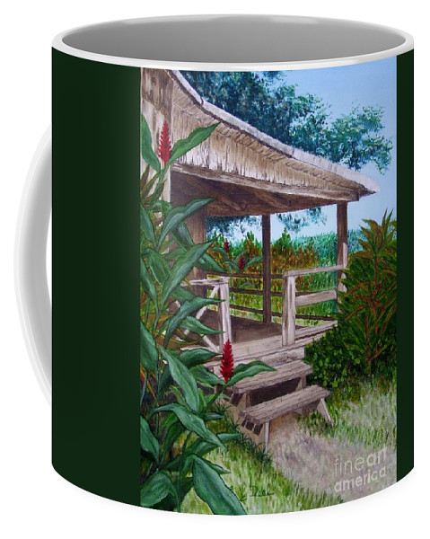 House Coffee Mug featuring the painting The Lanai by Mary Deal