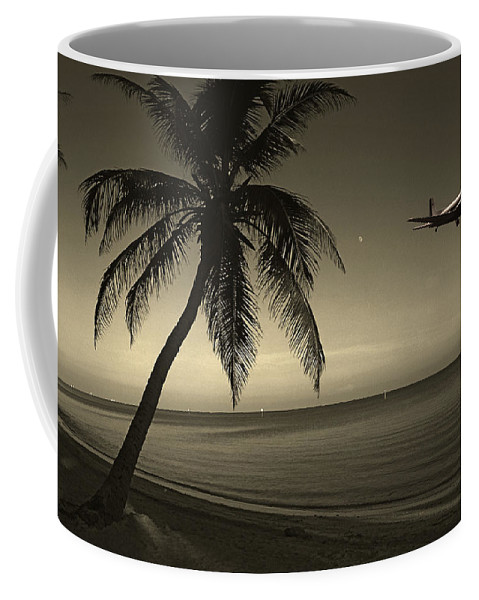 Palm Coffee Mug featuring the photograph The Last Flight Out by Susanne Van Hulst