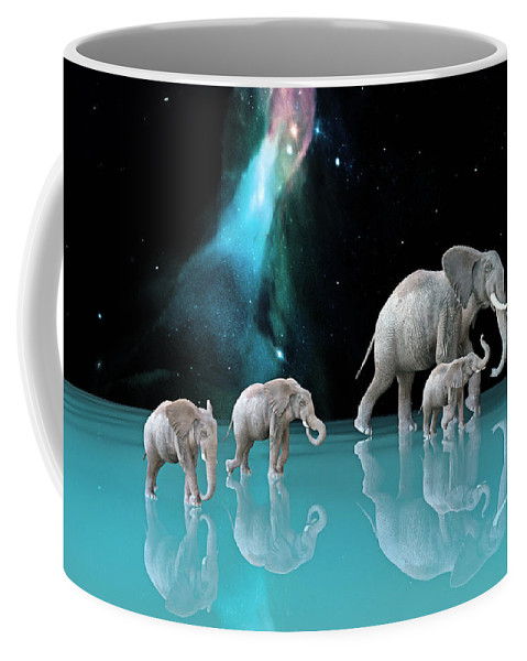 Elephant Coffee Mug featuring the digital art The Last Mother by Betsy Knapp