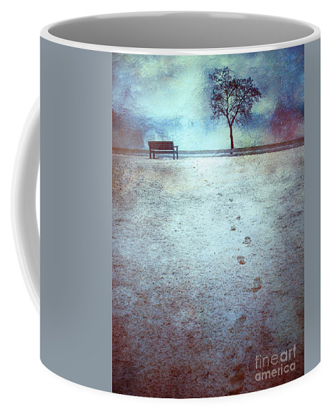 Bench Coffee Mug featuring the photograph The Last Snowfall by Tara Turner