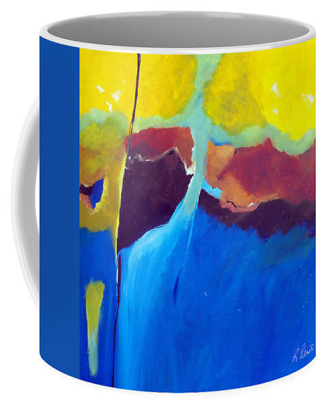 Abstract Coffee Mug featuring the painting The Lay Of The Land by Ruth Palmer
