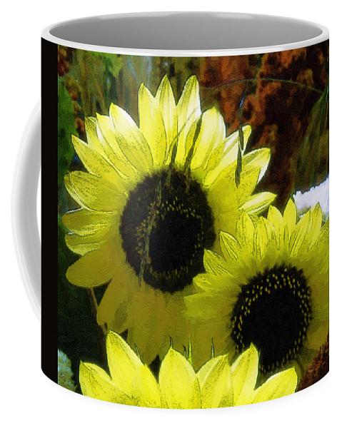 Sunflowers Coffee Mug featuring the digital art The Lemon Sisters by RC deWinter
