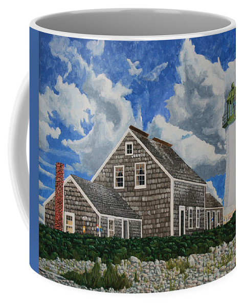 Lighthouse Coffee Mug featuring the painting The Light Keeper's House by Dominic White