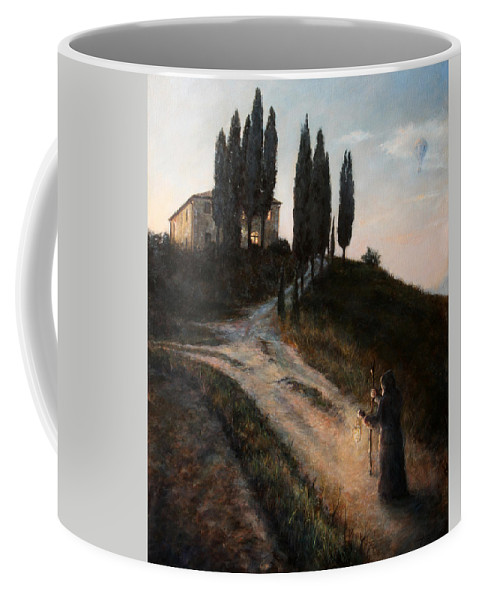 Tree Coffee Mug featuring the painting The Light of a New Dawn by Darko Topalski