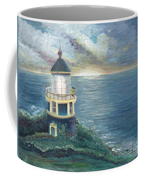 Lighthouse Coffee Mug featuring the painting The Lighthouse by Nadine Rippelmeyer
