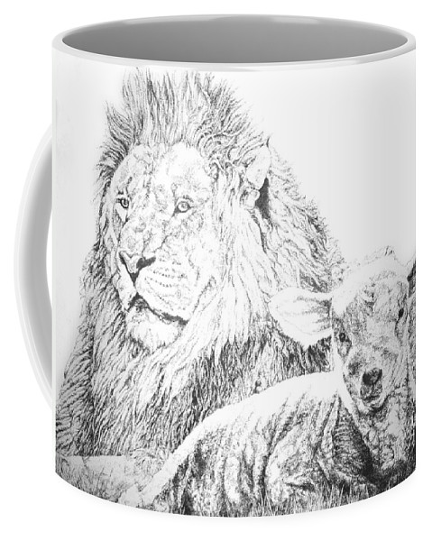 Lion Coffee Mug featuring the drawing The Lion And The Lamb by Bryan Bustard