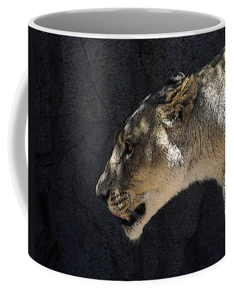 Lions Coffee Mug featuring the mixed media The Lioness by Ernie Echols