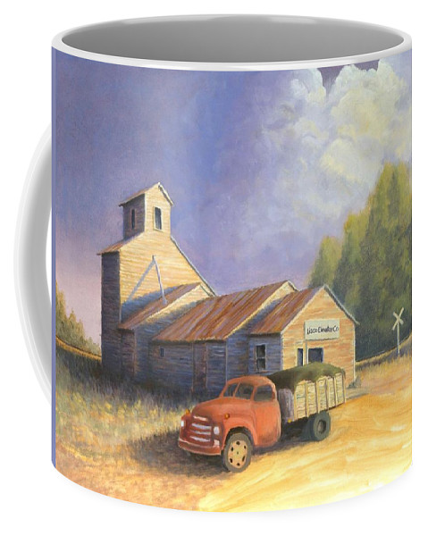 Nebraska Coffee Mug featuring the painting The Lisco Elevator by Jerry McElroy