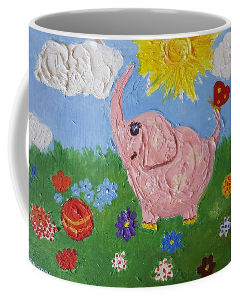 Elephant Coffee Mug featuring the painting Little Pink Elephant by Rita Fetisov