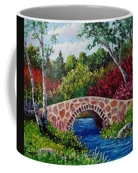 Landscape Coffee Mug featuring the painting The Little Stone Bridge by David G Paul