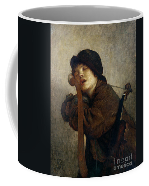 Boy Coffee Mug featuring the painting The Little Violinist Sleeping by Antoine Auguste Ernest Hebert
