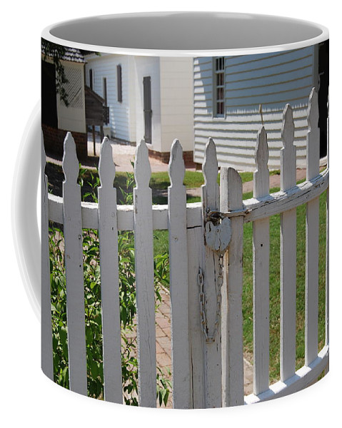 Gate Coffee Mug featuring the photograph The Lock by Eric Liller