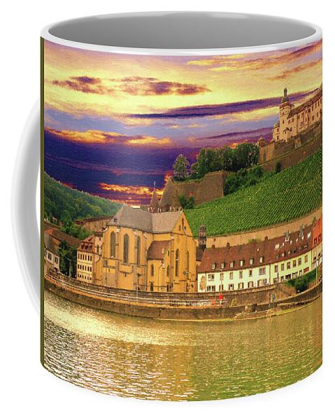 Landscape Coffee Mug featuring the digital art The Lock On The Hill by Alex Lim