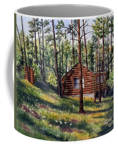 Nature Coffee Mug featuring the painting The Log Cabin by Mary Tuomi