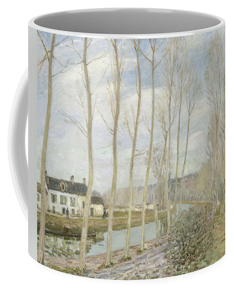 Alfred Sisley Coffee Mug featuring the painting The Loing's Canal by Alfred Sisley