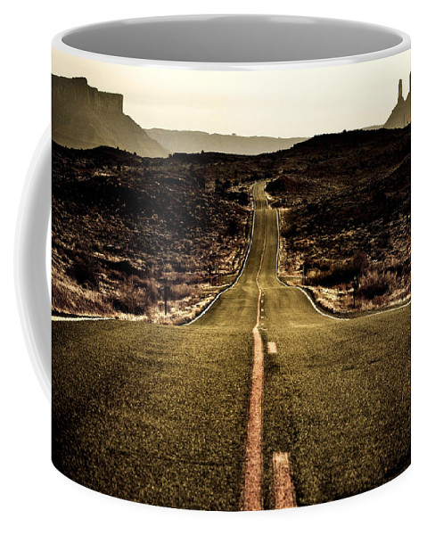 Utah Coffee Mug featuring the photograph The Long Road by Marilyn Hunt
