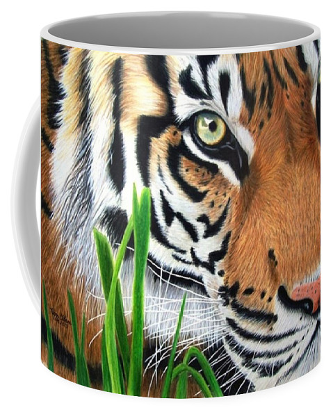 Sumatran Tiger Coffee Mug featuring the painting The Look by Peggy Osborne