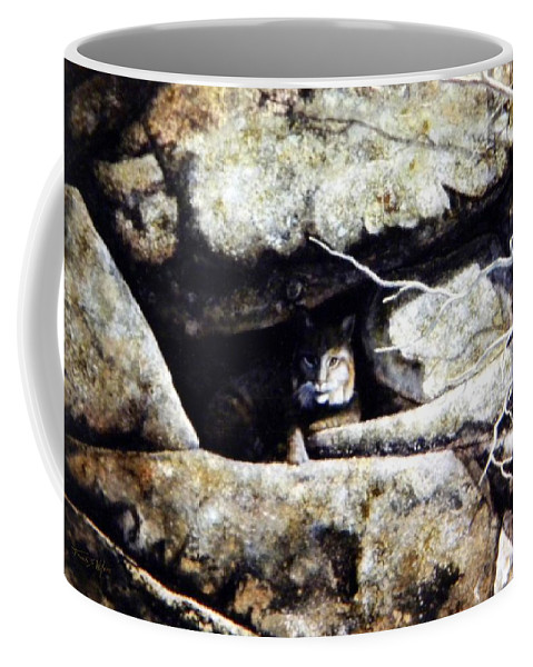 Wildlife Coffee Mug featuring the painting The Lookout Lynx by Frank Wilson