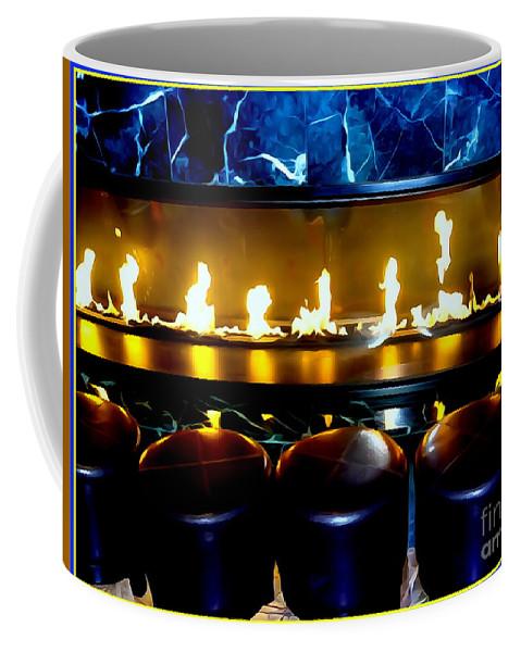 Digital Art Coffee Mug featuring the digital art The Lounge Fireplace by Ed Weidman