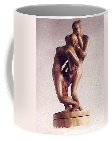 African Art Coffee Mug featuring the sculpture The Lovers by Emmanuel Baliyanga