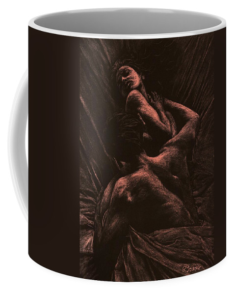 Nude Coffee Mug featuring the pastel The Lovers by Richard Young