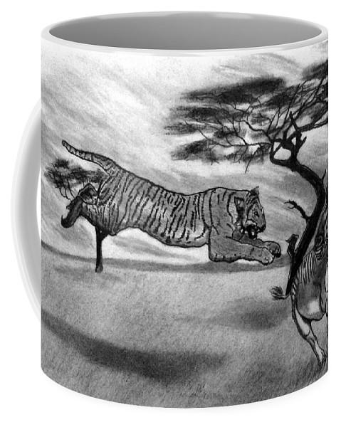 The Lunge Coffee Mug featuring the drawing The Lunge by Peter Piatt