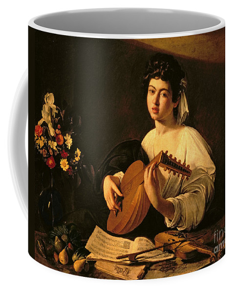The Lute Player Coffee Mug featuring the painting The Lute Player by Michelangelo Merisi da Caravaggio