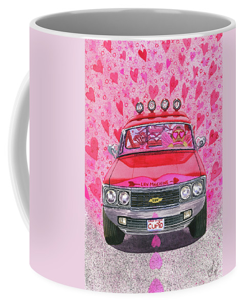 Luv Coffee Mug featuring the painting The Luv Machine by Catherine G McElroy