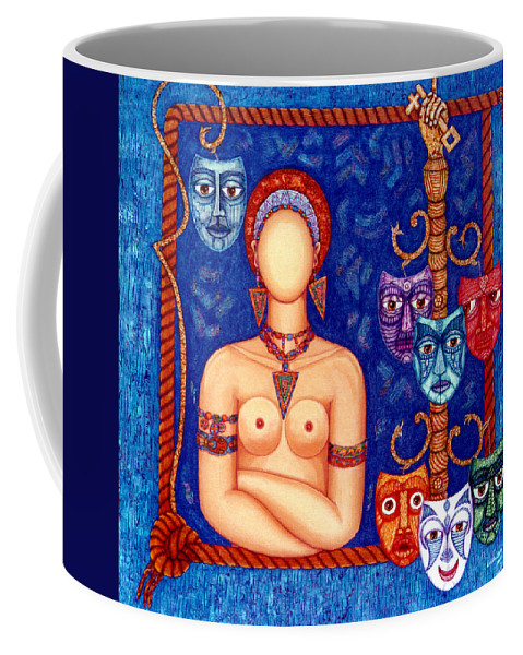 Madwoman Coffee Mug featuring the painting The Madwoman by Madalena Lobao-Tello