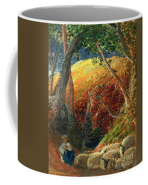 The Magic The Magic Apple Tree (indian Ink & W/c) By Samuel Palmer (1805-81) Coffee Mug featuring the painting The Magic Apple Tree by Samuel Palmer