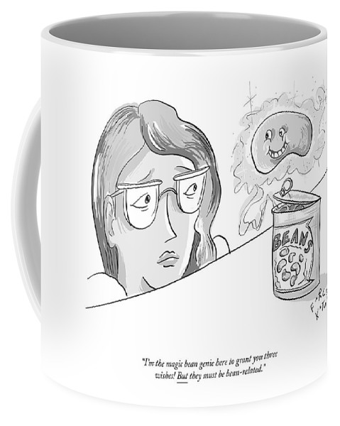 """""""i'm The Magic Bean Genie Here To Grant You Three Wishes! But Coffee Mug featuring the drawing The Magic Bean Genie by Farley Katz"""