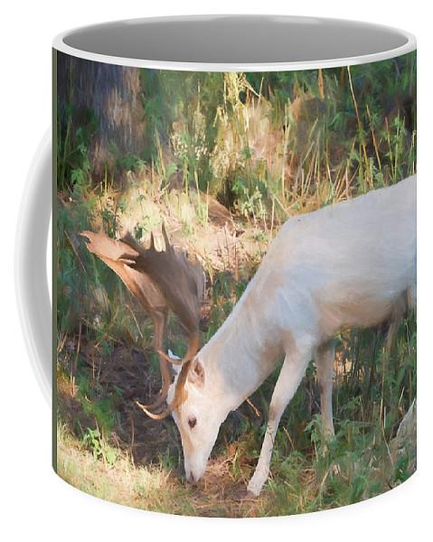 Cervidae Coffee Mug featuring the digital art The Magical Deer 3 by Roy Pedersen