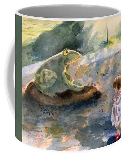 Child Coffee Mug featuring the painting The Magical Giant Frog by Andrew Gillette