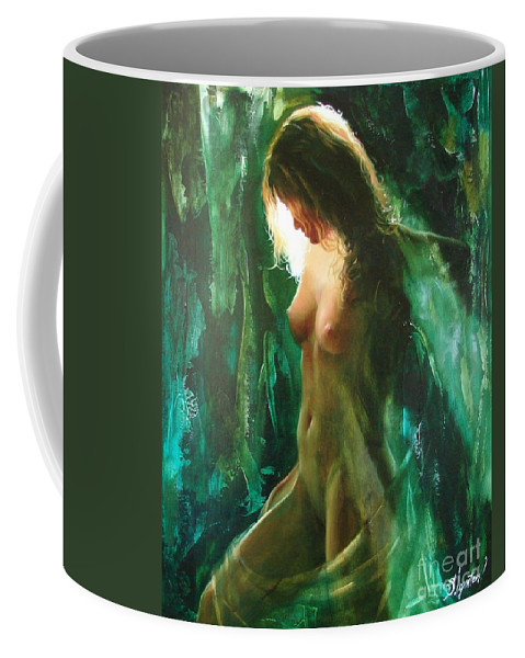 Art Coffee Mug featuring the painting The Malachite Light by Sergey Ignatenko