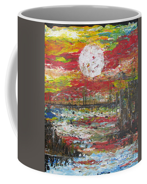 Nature Coffee Mug featuring the painting The Man And The Moon by Jacqueline Athmann