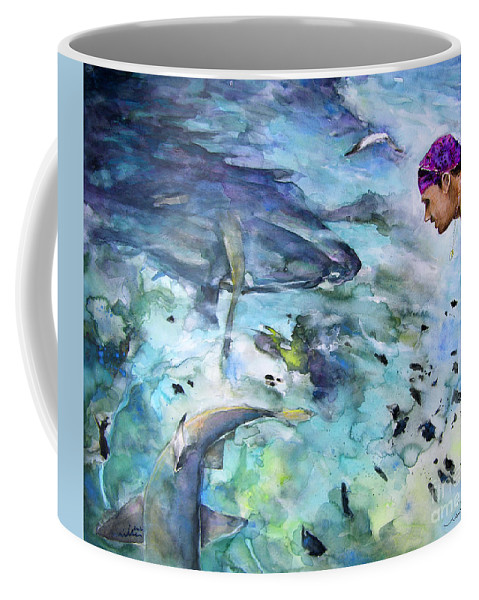 French Polynesia Coffee Mug featuring the painting The Man And The Sharks by Miki De Goodaboom
