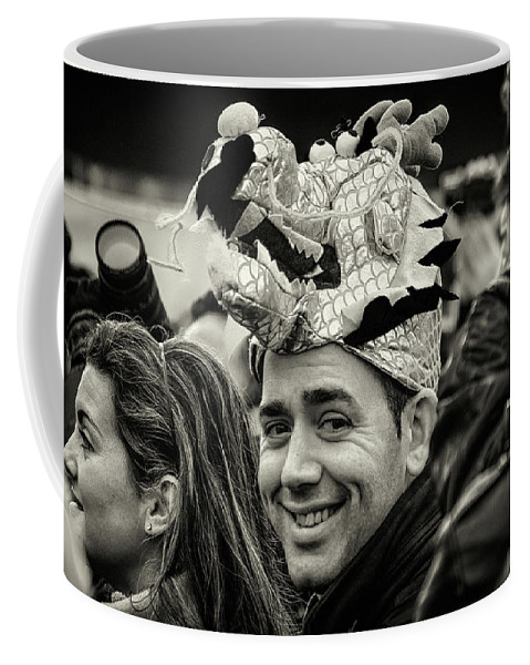 Black And White Coffee Mug featuring the photograph The Man In The Dragon Hat by Stewart Marsden
