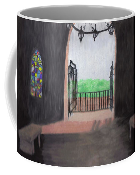 Mausoleum Coffee Mug featuring the drawing The Mausoleum by Jean Haynes