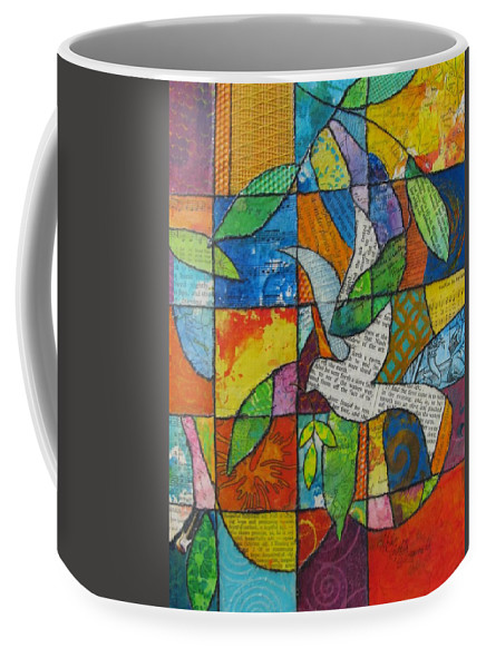 Coffee Mug featuring the mixed media The Messenger by Kathy Fitzgerald