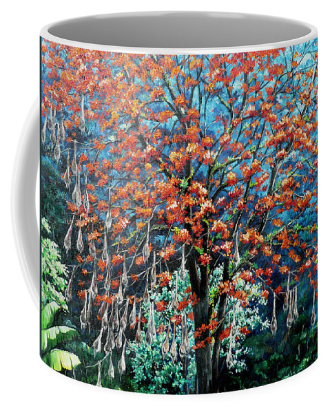 Tree Painting Mountain Painting Floral Painting Caribbean Painting Original Painting Of Immortelle Tree Painting  With Nesting Corn Oropendula Birds Painting In Northern Mountains Of Trinidad And Tobago Painting Coffee Mug featuring the painting The Mighty Immortelle by Karin Dawn Kelshall- Best