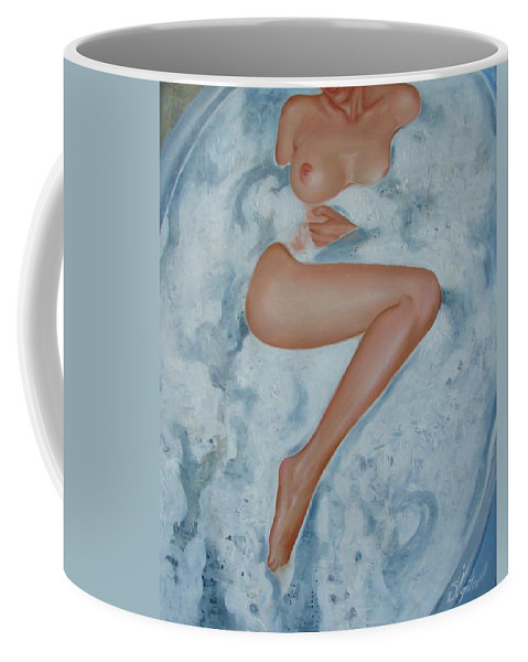 Art Coffee Mug featuring the painting The Milk Bath by Sergey Ignatenko