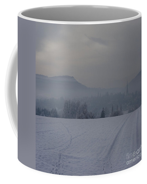 Winter Coffee Mug featuring the photograph The Misty Wintery Afternoon by Angel Ciesniarska