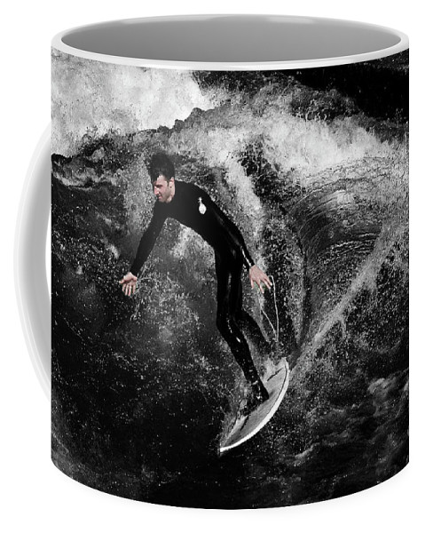 Surfer Coffee Mug featuring the photograph The Mono Sufer by Rob Hawkins