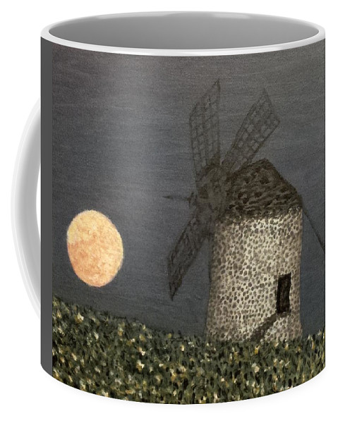 Moon Coffee Mug featuring the painting The Moon And The Windmill by Robbie Potter