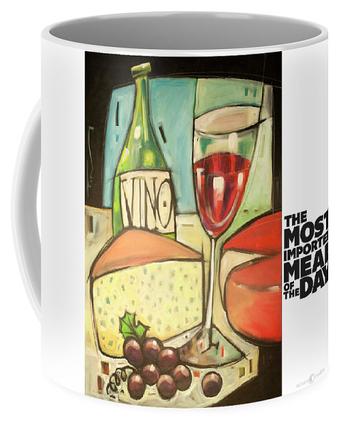 Wine Coffee Mug featuring the painting The Most Imported Meal by Tim Nyberg