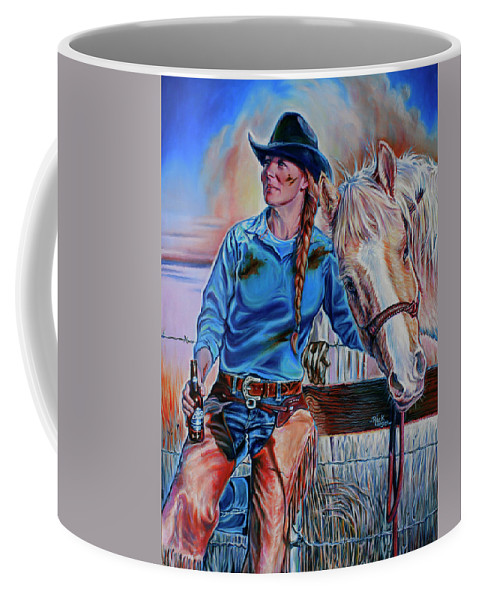 Cowgirl Coffee Mug featuring the painting The Mud The Blood And The Bud by Rick Unger