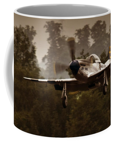 Mustang Coffee Mug featuring the photograph The Mustang Is Landing by Angel Ciesniarska