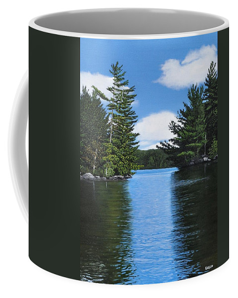 Landscapes Coffee Mug featuring the painting The Narrows Of Muskoka by Kenneth M Kirsch