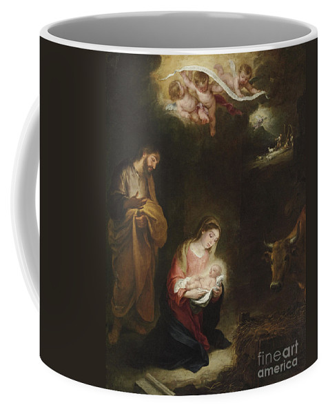Murillo Coffee Mug featuring the painting The Nativity With The Annunciation To The Shepherds Beyond by Bartolome Esteban Murillo