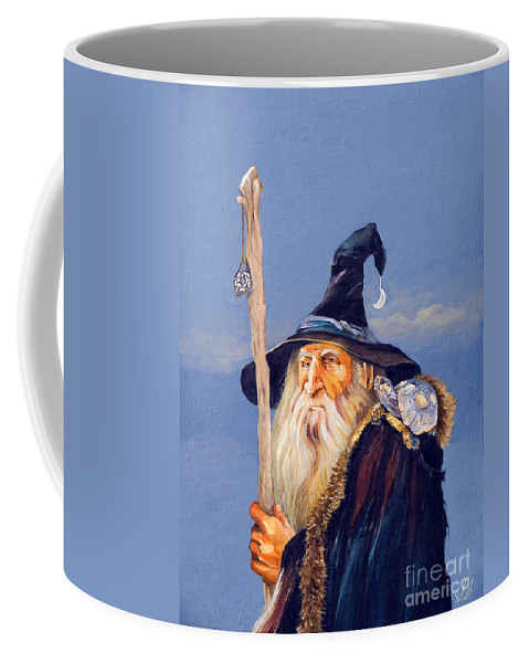 Wizard Coffee Mug featuring the painting The Navigator by J W Baker
